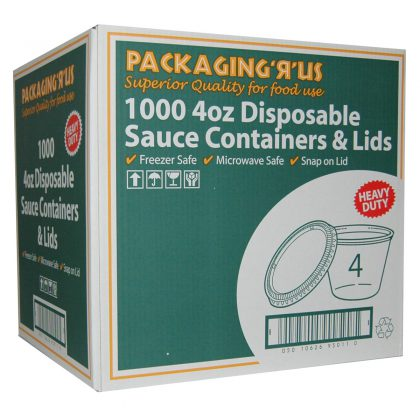 Pack 'R' Us Disposable Sauce Containers and Lids 1000 x 4oz