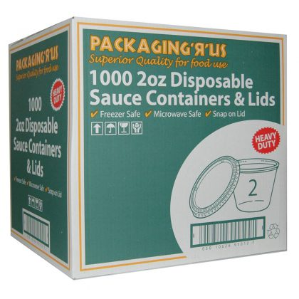 Pack 'R' Us Disposable Sauce Containers and Lids 1000 x 2oz
